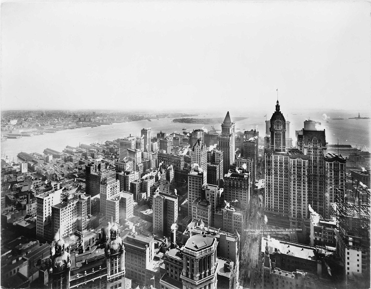 view from woolworth building 1913 new york city