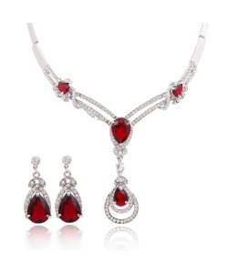Hot-sale-african-costume-jewelry-set-luxury-silver-plated-red-zircon-crystal-necklace-and-earrings-set